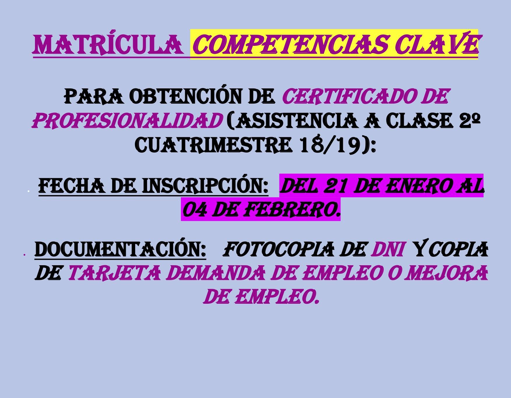 CARTEL COMPETENCIAS 18 19 CLASE